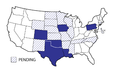 An image of the United States displaying engineering registries, which are listed below.